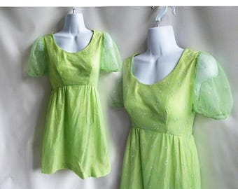 Vintage 70s Dress Size S Green Flocked Chiffon Mini Bridesmaid Prom babydoll