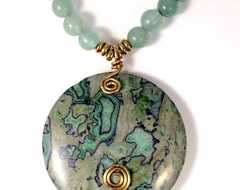 Green Jasper Pendant, Green Jasper Necklace, Green Jasper with Green Aventurine Beads, Green Necklace