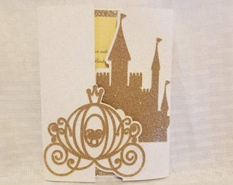 Disney Wedding Invitation inspired by gold shimmer castle and carriage