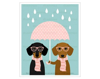339D Dog Art Prints - Two Dachshund Dogs with Pink Umbrella Wall Art - Pink Girl Nursery Art - Dog Home Decor - Dachshund Drawing - Two Dogs