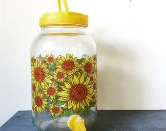 vintage glass beverage dispenser - sunflowers sun solar tea jar - cold drink server - one gallon jar