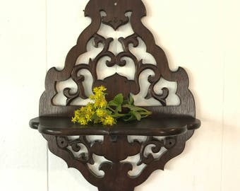 vintage wall shelf - carved wooden plant ledge - boho display shrine