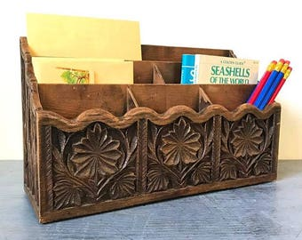 vintage desk caddy - carved resin wood grain office organizer - faux bois