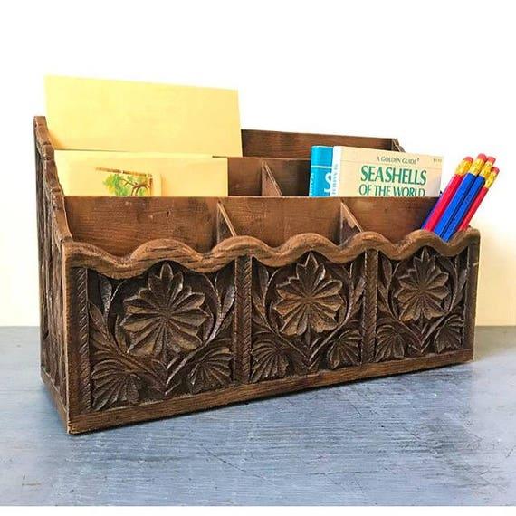vintage desk caddy - carved resin office organizer - boho faux bois woodgrain
