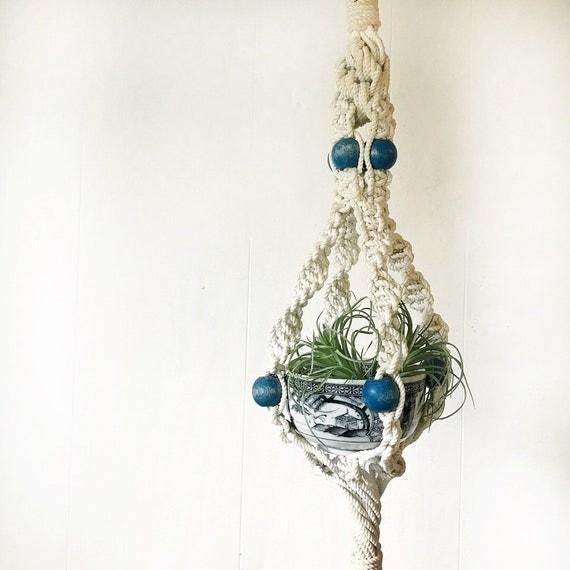 vintage macrame plant hanger - white plant holder with blue wooden beads - boho garden decor