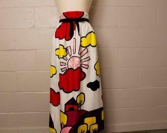 Vintage 1970's Pop Art Carrie Couture Maxi Skirt 26 waist