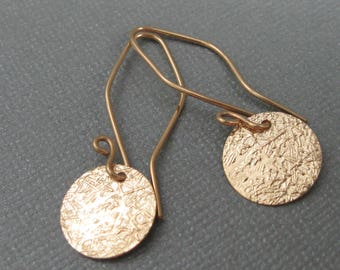 Textured gold filled disc drop earrings, artisan textured dangle earring contemporary jewelry, metalsmith jewelry