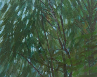 Feathery Light through Trees - original fine art, wall decor, landscape study, acrylic painting on panel - Irene Stapleford - wantknot shop
