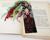 Frida and her Cat -  Laminated Bookmark  Handmade - Original Art by FLOR LARIOS