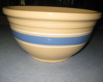 Vintage Beautiful Huge Oven Ware Bowl From Estate Yellow Oven Ware Bowl With Blue Stripe