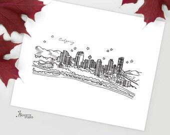 Calgary, Alberta - Canada - Instant Download Printable Art - City Skyline Series
