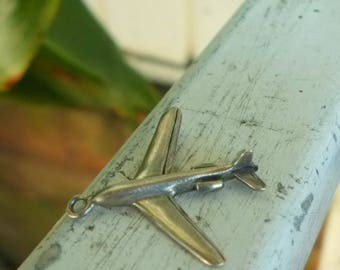Genuine Solid 925 Sterling Silver Aeroplane Airplane Charm / Pilot Aviation Gift