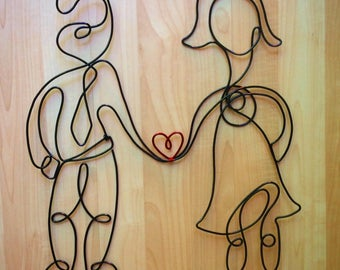 Personalized 2 person wire sculpture, painted, approximately 18in by 18in