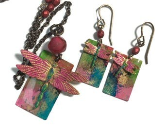 Hand Painted necklace and earring set.