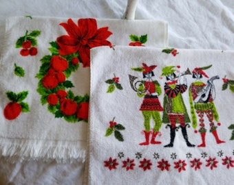 Two Vintage Kitchen Towels, Christmas Themed, Pipers and Red Bowed Wreath Motifs, Cannon and Sun Glow Brands