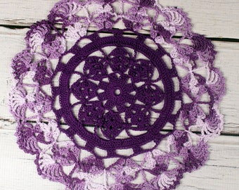 """Lovely Crocheted Shades of Purple Variegated Doily Table Topper - 10 1/2"""""""