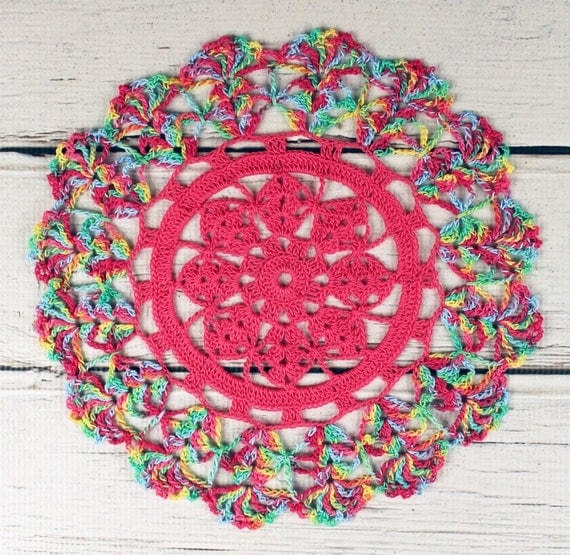 Crocheted Hot Pink Variegated Table Topper Doily - 10 1/2""