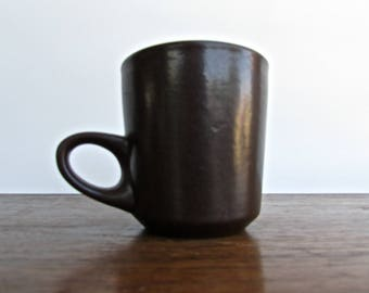 Edith Heath Pottery of California, Tall Coffee Mug, Rich-Dark Brown w/ Vellum Sand Interior, Heath Coupe Line, American Modern Design