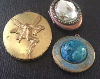 Embellished LOCKETS Handmade UPCYCLED Vintage Lockets (3) Brass & Copper
