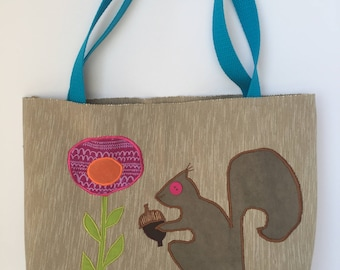 Beige Tote Bag with Squirrel
