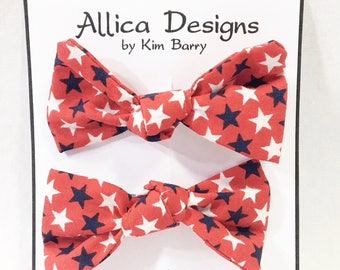 Hair Bow Clip Set - Red, White, and Blue Stars-  Free Shipping in the US