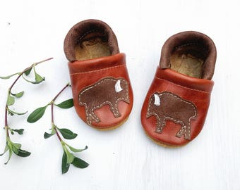 Bison Buffalo Soft Soled Leather Shoes Slippers Baby and Toddler//Free Shipping in USA// Starry Knight Design