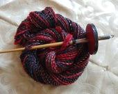 Vampire Silk handspun merino and silk yarn, 80 yards, worsted weight thick and thin art yarn