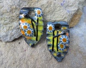 Wrinkled Shields Copper Torch and Kiln Fired Enameled 1 pair Charms Earring components Whimsical SusieDesigns