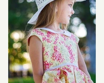 ON SALE Girls Pink and Yellow Floral Dress, Girls Dress with Peter Pan Collar, Easter Dress, Sunday Dress,