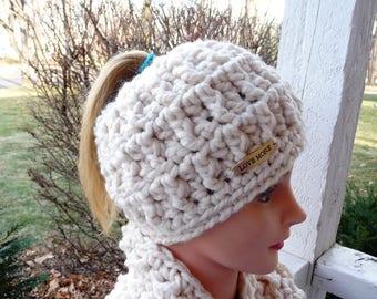 Cream Messy Bun Ponytail Hat Ready to Ship