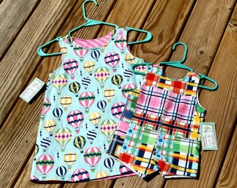 Clothing For Twins -  Boy Girl Twins  - Hot Air Balloons -  Brother Sister Clothing - Plaid - Twins 1st Birthday - Groovy Gurlz
