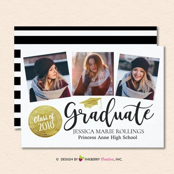 gold stamp graduate 2018 graduation announcement or invitation