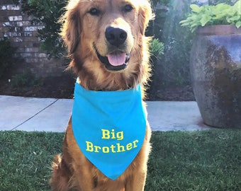 Big BROTHER Dog Bandana Sizes XS to XL Choice of Fabric in Tie Style