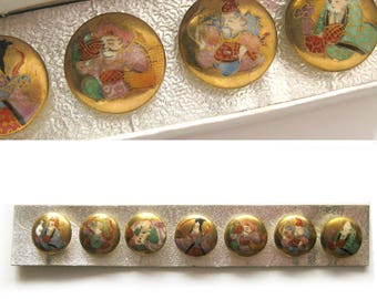 SET OF 7 / Gods of Good Fortune Satsuma Button / Antique Buttons / Gold / In Box