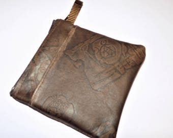 Distressed Dark Brown Embossed LEATHER Wallet/Coin Purse with Pocket