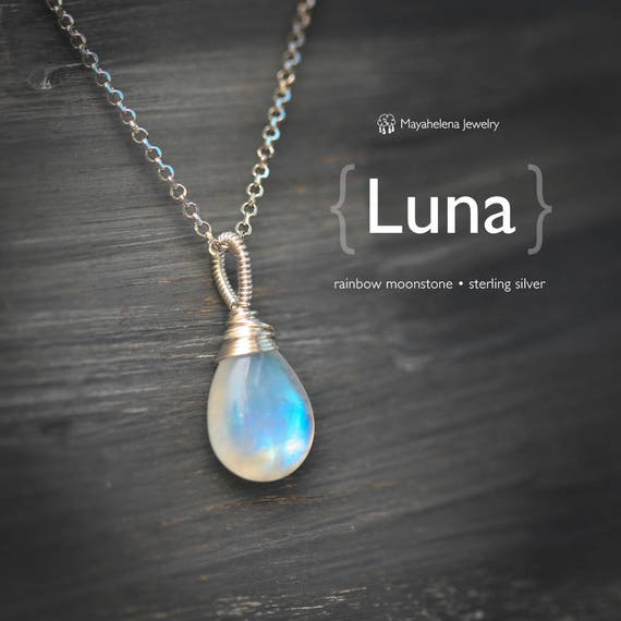 Luna - Rainbow Moonstone Briolette Wire Wrapped Sterling Silver Necklace