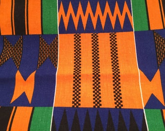 Kente African Print, Cotton, Muslin, Sewing, Craft Supply, Tribal Print Fabric, Geometric Design, Black History Print, Fabric Remnant