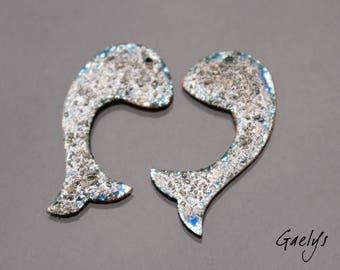 Queue de Sirenne - plaques en cuivre émaillé - bleu et blanc cassé - Gaëlys - 1 paires