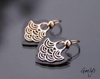 Black Tegashi / rose gold - dangle earrings, vermeil rose gold and enameled copper - Bohemian Chic - bo gaelys