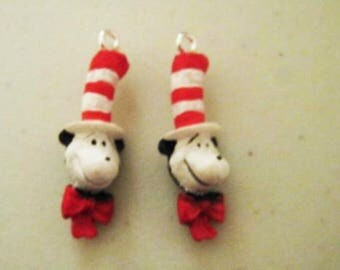 Set of 2 Dr. Seuss CAT IN HAT Figural Head Resin Charm Pendant New