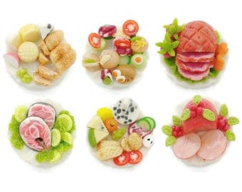Miniature Foods Polymer Clay Art Supply Dollhouse Collection, set of 6 pieces