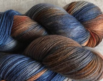 Blue and Brown Dyed 8ply DK Merino Wool