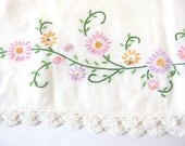 Pair Vintage Embroidered Flowers on Cotton Pillowcases with Crochet Edging, Handmade Cutter Linen