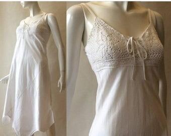 MOVING SALE Vintage 1990's crochet lace and texture cotton strappy bias cut dress, white, corset tie neckline, small