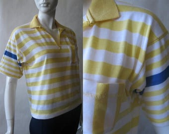 MOVING SALE Vintage cropped polo shirt by Sprockets, yellow, white, and blue striped, late 1980's / early 90's, small / medium