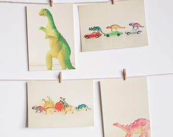 Dinosaur Postcards, Colourful Retro Postcards, Affordable Art for Kids - Dinosaurs