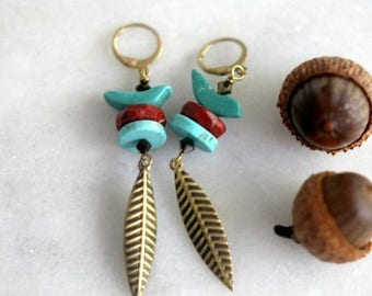De-Stash Sale Birds of Autumn Earrings, Turquoise, Red Jasper, Fall Leaves, Gold Brass, Fall Fashion