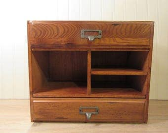 Vintage oak desk organizer with two drawers and pigeon holes- solid, beautiful, fine condition