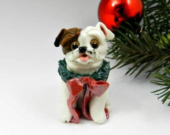 Bulldog Brindle and White Christmas Ornament Figurine  Wearing Wreath Porcelain Clay