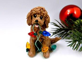Golden Doodle Labradoodle Red Christmas Ornament Figurine Lights Porcelain
